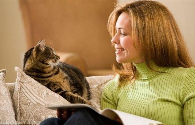 Девушка в зеленой кофте и кошка на диване