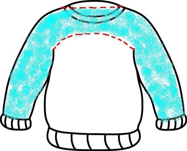 Зашивание синтепона в рукава кошачьего свитера