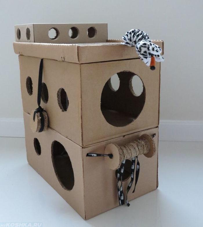 Дом для кошек из коробок своими руками