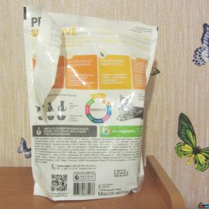Кошачий сухой корм Пёрфект Фит серии для особо притязательных вид сзади упаковка