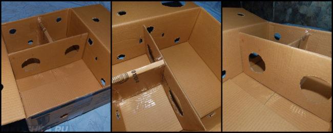 В процессе изготовления игрушки для кошки из коробки