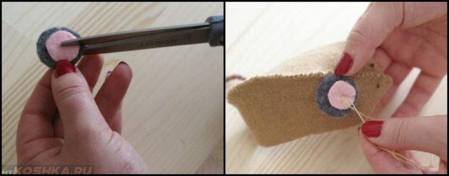 Накладываем ушки на выкройку мягкой игрушки