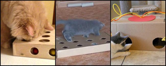 Различные варианты наполнения коробки для игр с кошкой