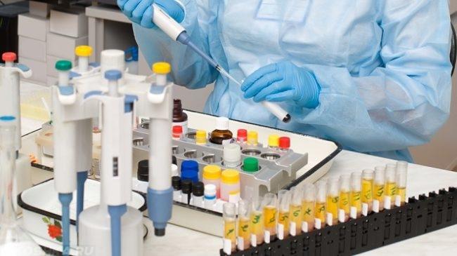 Разноцветные пробирки в лаборатории на столе