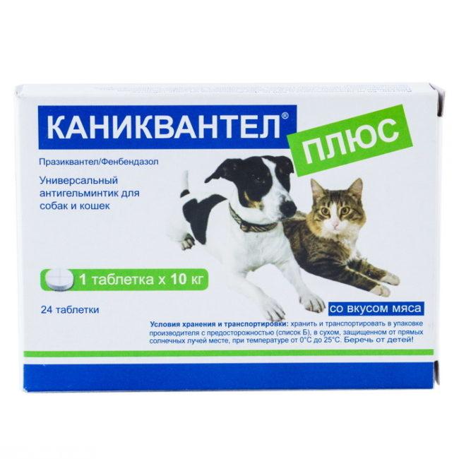 Белая упаковка препарата Каниквантел