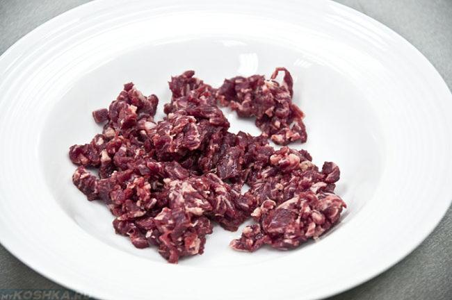 Красное сырое мясо на белой тарелке