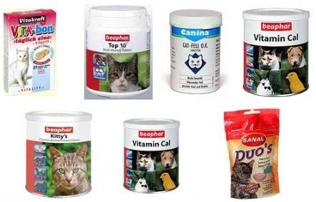 Баночки и пакетики с пищевыми добавками для кошек