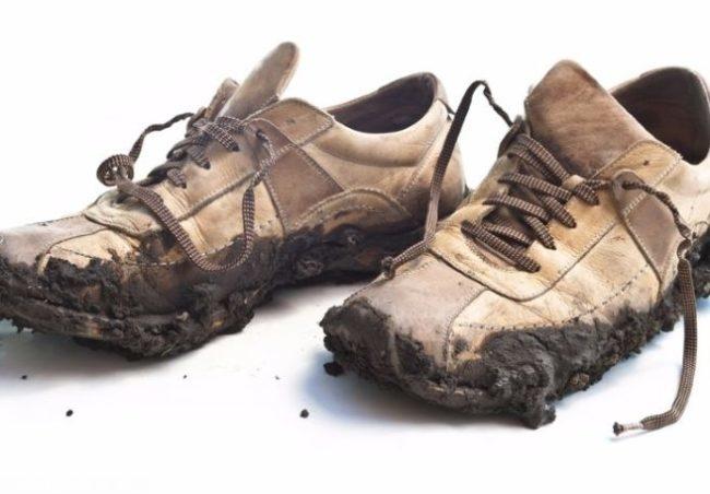 Грязная обувь на белом фоне