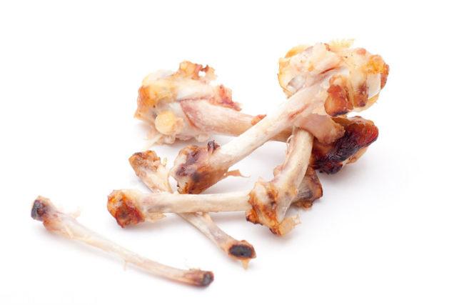 Куриные кости на белом фоне