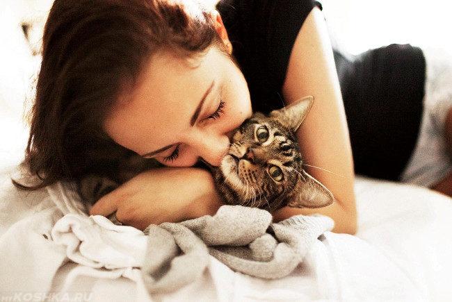 Женщина обнимающая кошку