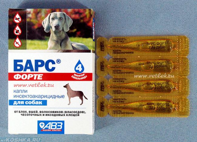 Капли барс для собак в упаковке