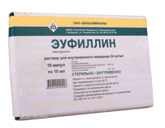 Препарат эуфиллин в виде раствора