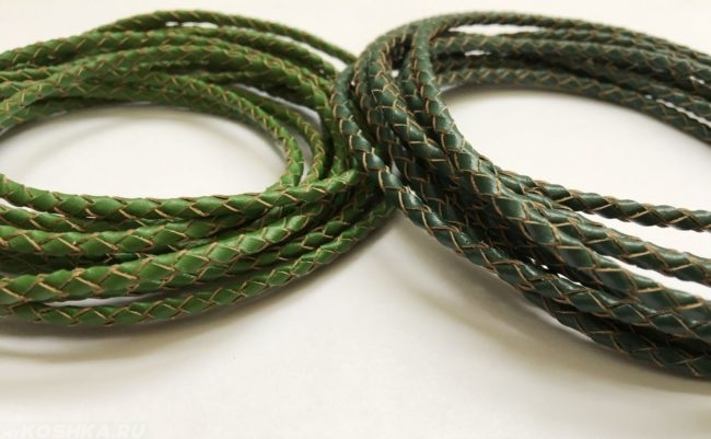 Плетёные шнуры зелёного цвета