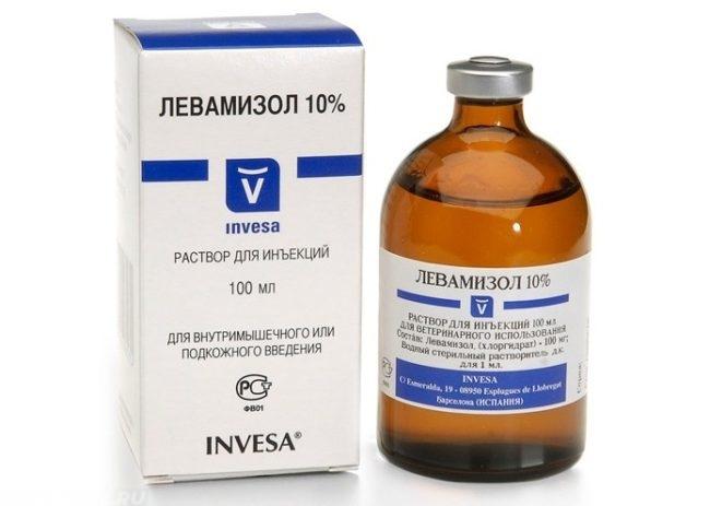 Препарат левамизол в бутылочке