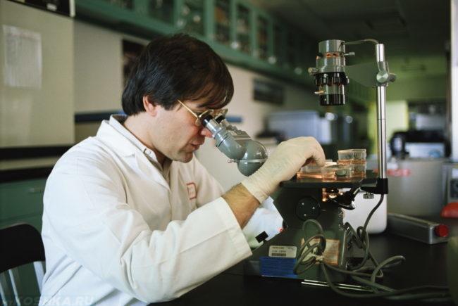 Мужчина в лаборатории смотрящий в микроскоп
