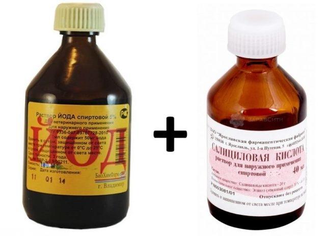 Йод и салициловая кислота для приготовления настойки от лишая у кроликов
