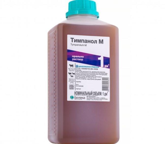 Флакон объемом в 1 кубический дециметр с препаратом Тимпанол для лечения кроликов