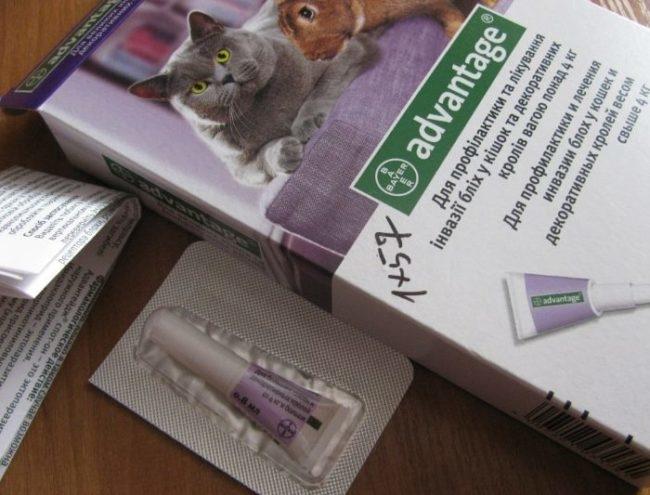 Упаковка и тюбик с пипеткой препарата Advantage для лечение блох у кроликов и кошек