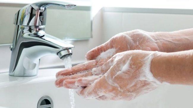 Мытье рук после переноса мертвых кроликов, погибших от чумки